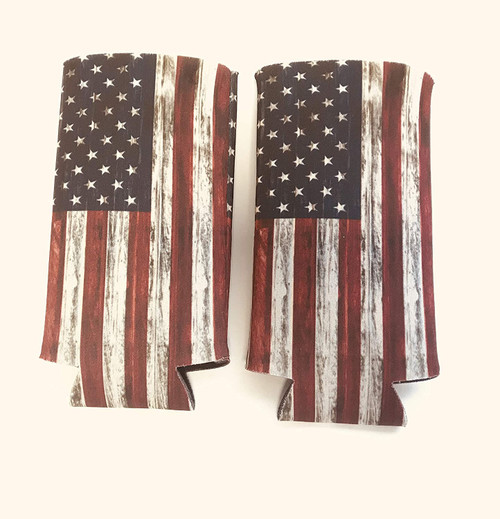 Distressed USA AMERICAN FLAG Slim Can Cooler Sleeve - Beer Blank Skinny 12 oz Neoprene Coolie - Perfect For 12oz Red Bull, Michelob Ultra,Truly