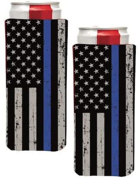 Thin Blue Line  USA AMERICAN FLAG Slim Can Cooler Sleeve - Beer Blank Skinny 12 oz Neoprene Coolie - Perfect For 12oz Red Bull, Michelob Ultra,Truly