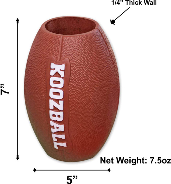 """Genuine Official """"Koozball"""" Football Can Cooler Koozie, Brown, 7.5"""" Tall, NEW"""