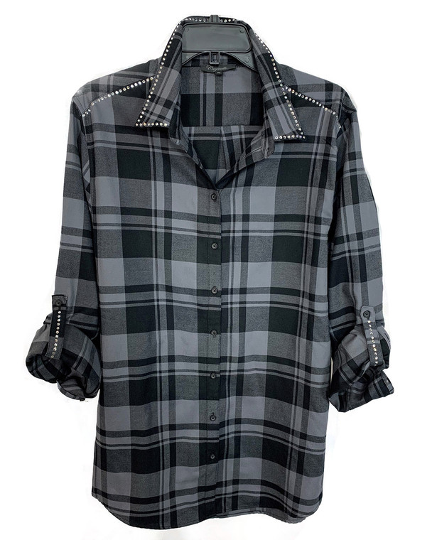 Charcoal Crystal Trim Flannel Shirt