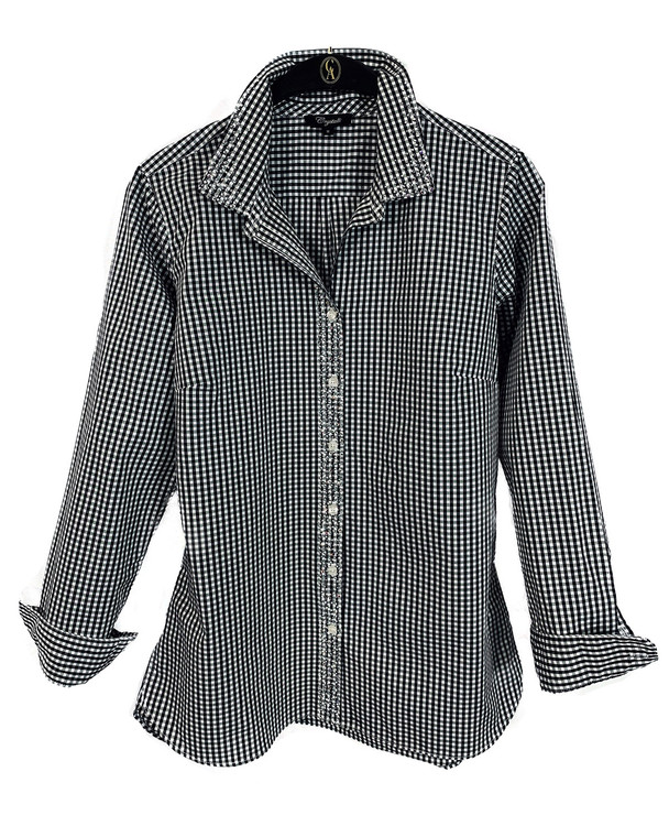 Black & White Crystal Glimmer Check Button Up Shirt