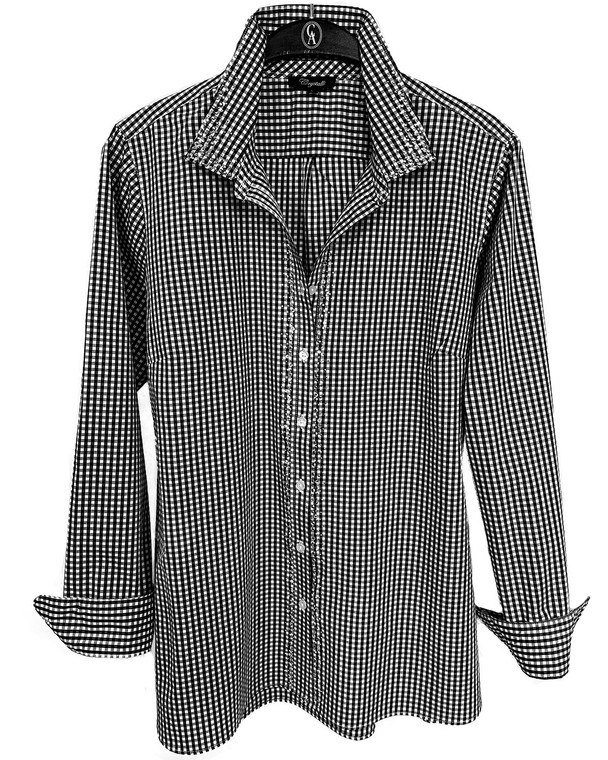 Black & White Crystal Scattered Trim Check Button Up Shirt
