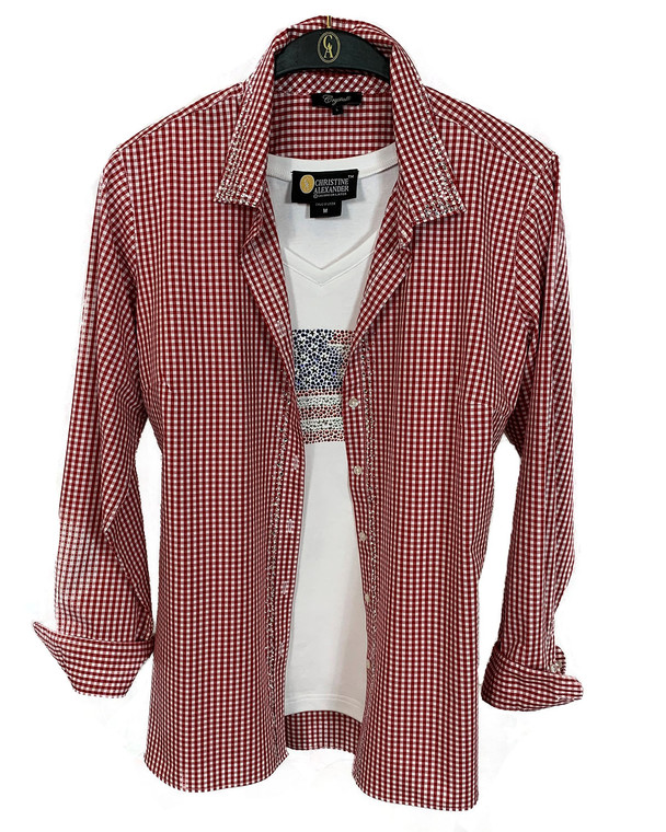 Red & White Crystal Scattered Trim Check Button Up Shirt