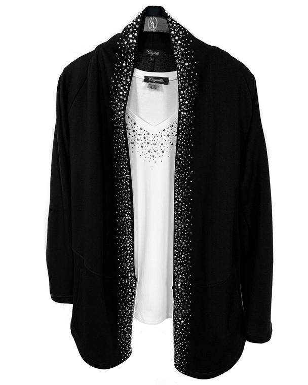 Silver Crystal Scattered Trim Cardigan