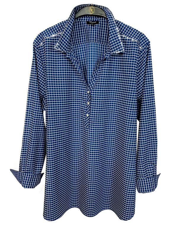 Crystal Burst Blue Check Tunic Blouse