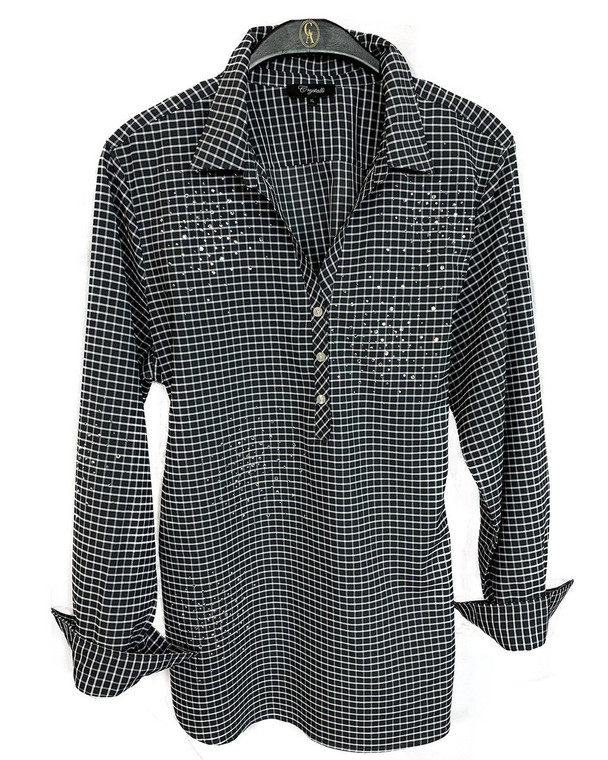 Crystal Burst Black & White Tunic Blouse