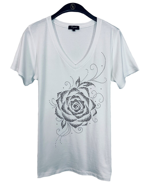 Black Crystal Rose Super Soft V-Neck Tee