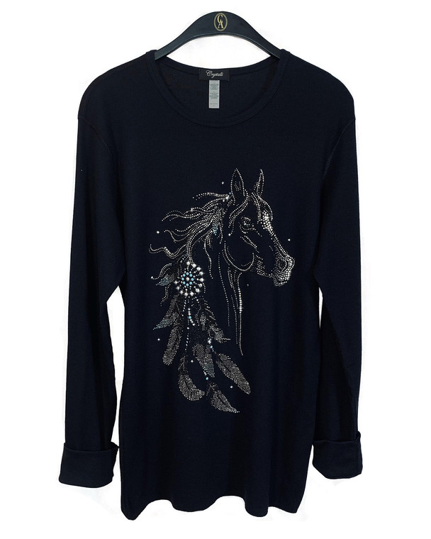Horse with Feathers Waffle Weave