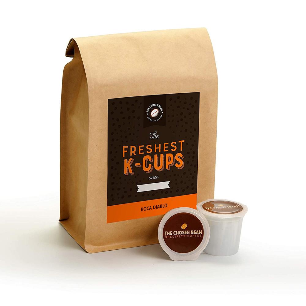 The Chosen Bean, Freshest K Cups in The World, Perfectly Roast Coffee, Organic Fair Trade, Small Batch Freshly Roasted Day of Shipment, 18 K-Cups (Boca Diablo)