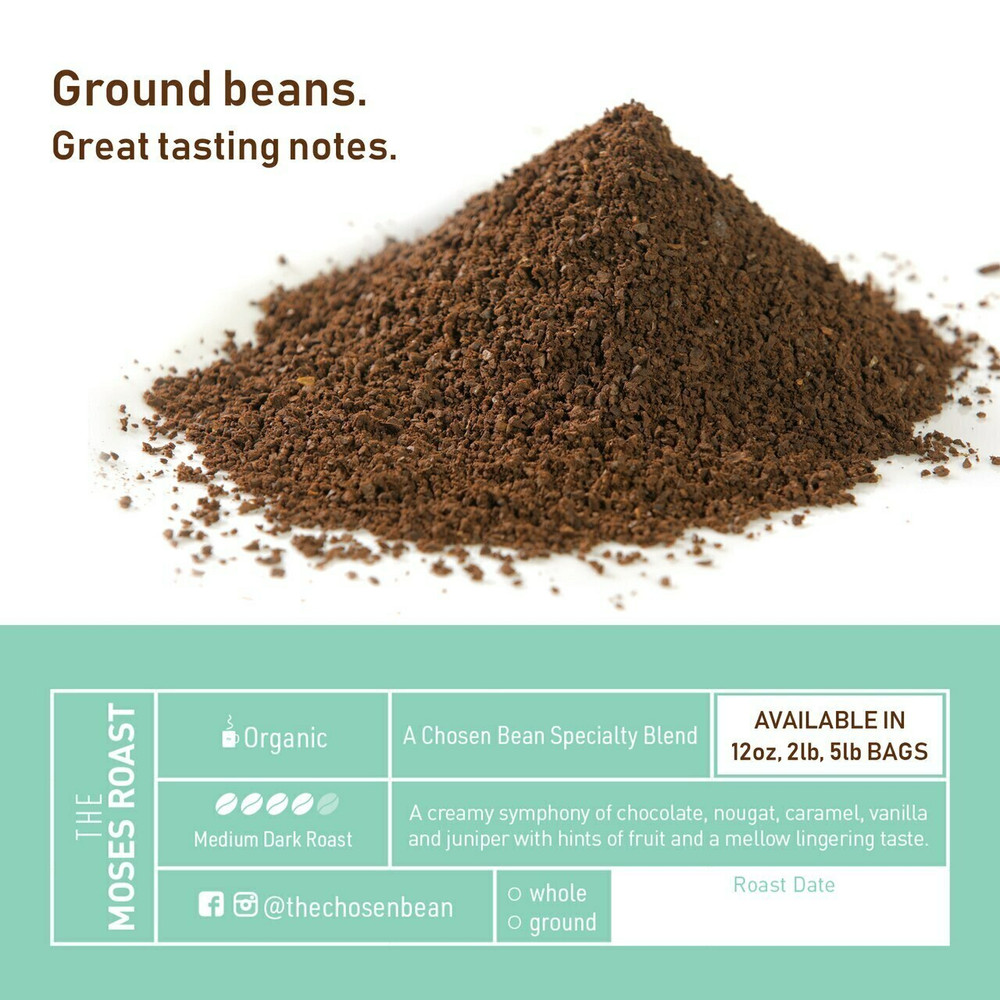 The Chosen Bean, Freshest K Cups in The World,  Roast Coffee, Organic Fair Trade, Small Batch Freshly Roasted Day of Shipment, 18 K-Cups (Moses Roast)