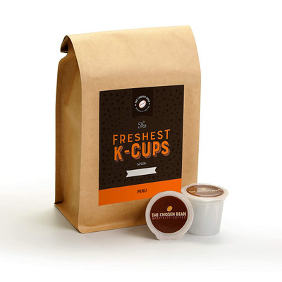 The Chosen Bean, Freshest K Cups in The World, Perfectly Roast Coffee, Organic Fair Trade, Small Batch Freshly Roasted Day of Shipment, 18 K-Cups (Peru)