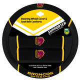 Brisbane Broncos NRL Steering Wheel And Seat Belt Comforts
