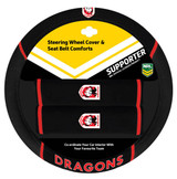St George Illawarra Dragons NRL Steering Wheel And Seat Belt Comforts