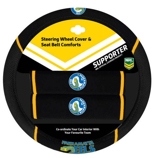 Parramatta Eels NRL Steering Wheel And Seat Belt Comforts