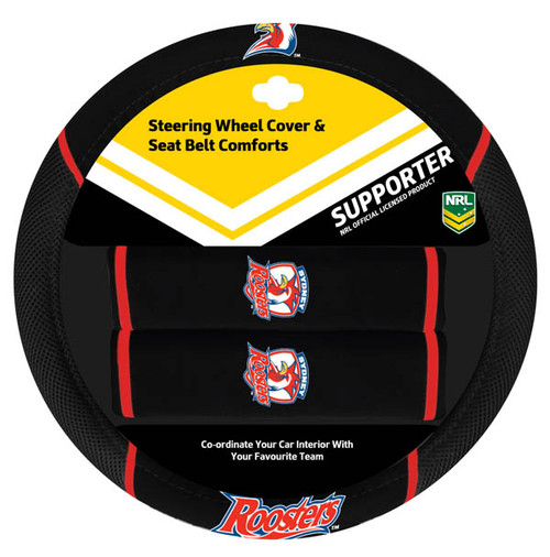 Sydney Roosters NRL Steering Wheel And Seat Belt Comforts