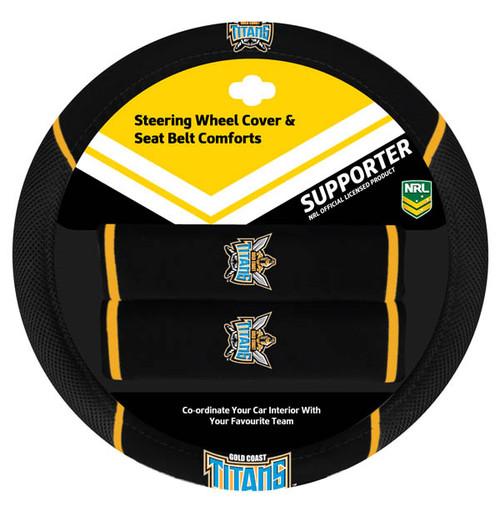 Gold Coast Titans NRL Steering Wheel And Seat Belt Comforts