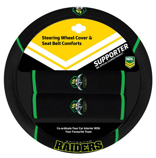 Canberra Raiders NRL Steering Wheel And Seat Belt Comforts