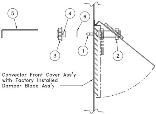 Convector Damper Knob Assembly - Damper NOT Included (Generic Picture Shown For Reference Only)