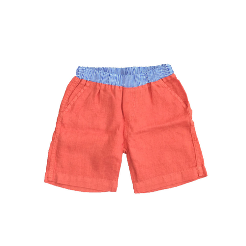 Linen Shorts - Orange Garment Dyed