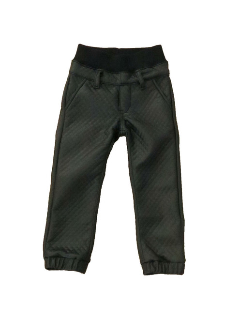 Black Quilted Jogger Pants
