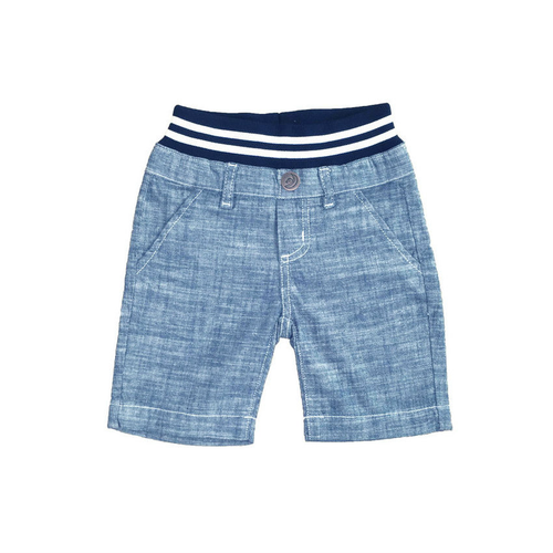 Washed Chambray Shorts - Light Blue with Contrast Waistband
