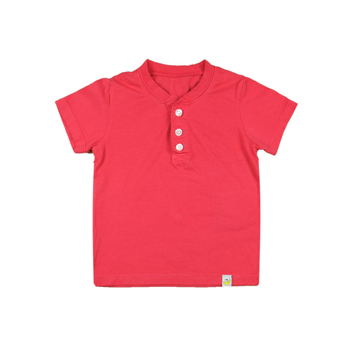 Henley T-Shirt - Raspberry Combed Cotton Garment Dyed