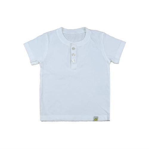 Organic Cotton Henley T-Shirt - White Garment Dyed
