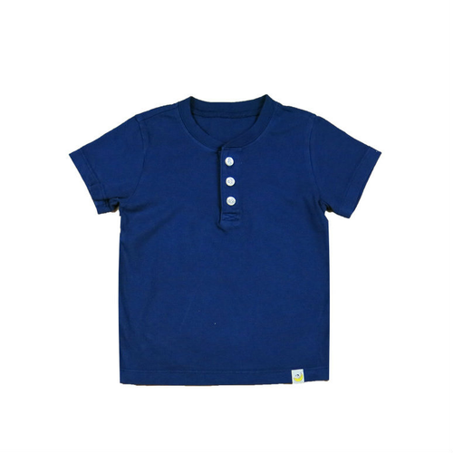 Henley T-Shirt - Navy Combed Cotton Garment Dyed