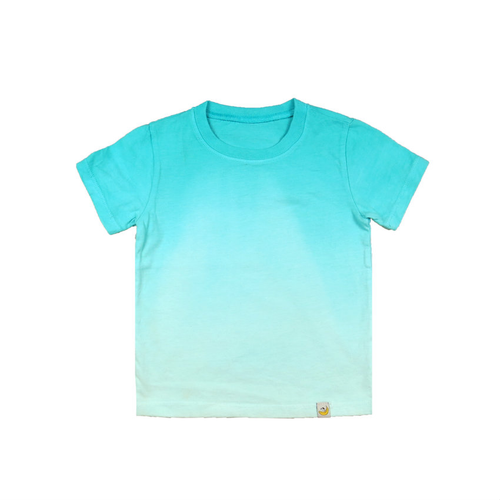 T-Shirt - Aqua Combed Cotton Ombre Dyed