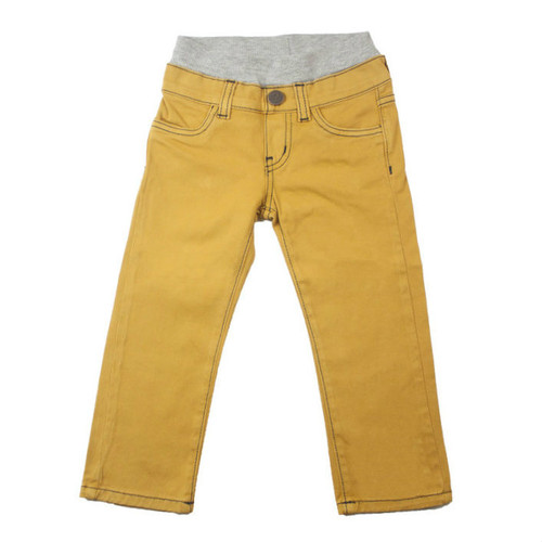Twill Pants - Mustard Garment Dyed with Contrast Stitch