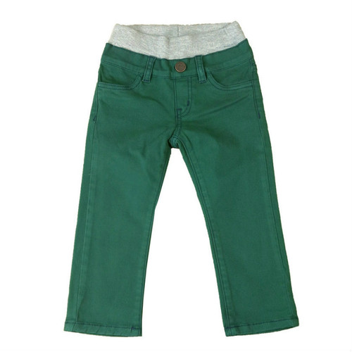 Twill Pants - Green Garment Dyed with Contrast Stitch