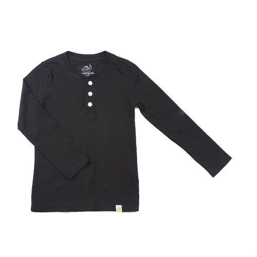 Henley Long Sleeve - Garment Dyed Black