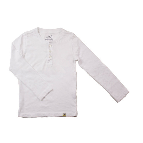 Henley Long Sleeve - Garment Dyed White