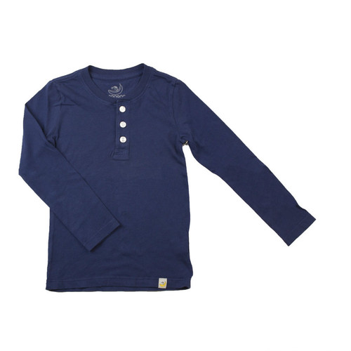 Henley Long Sleeve - Garment Dyed Navy