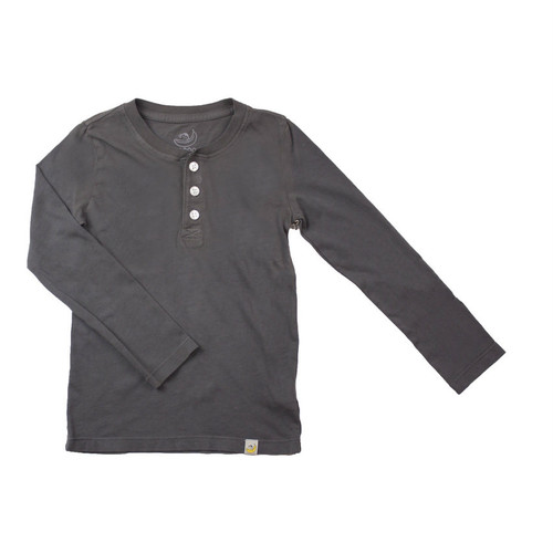 Henley Long Sleeve - Garment Dyed Charcoal
