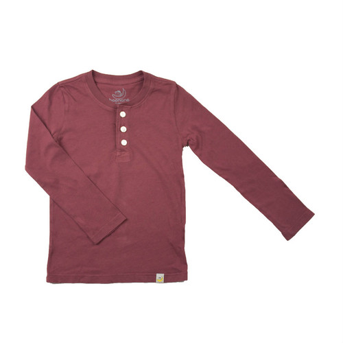 Henley Long Sleeve - Garment Dyed Rusty Red