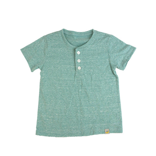 Washed Slubbed Henley T-Shirt - Green