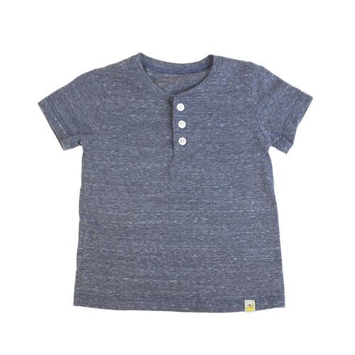 Washed Slubbed Henley T-Shirt - Navy