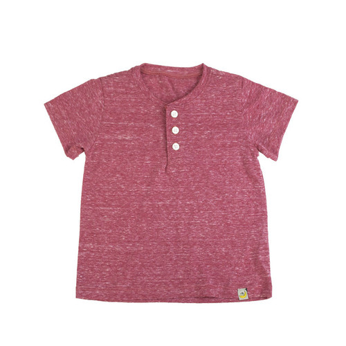 Washed Slubbed Henley T-Shirt - Red