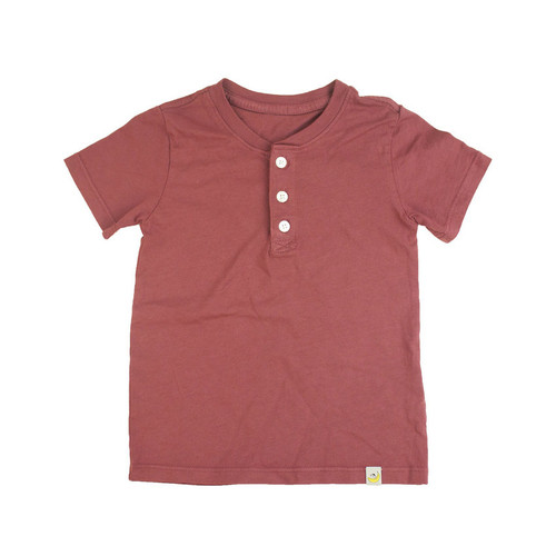 Henley T-Shirt - Rusty Red Combed Cotton Garment Dyed