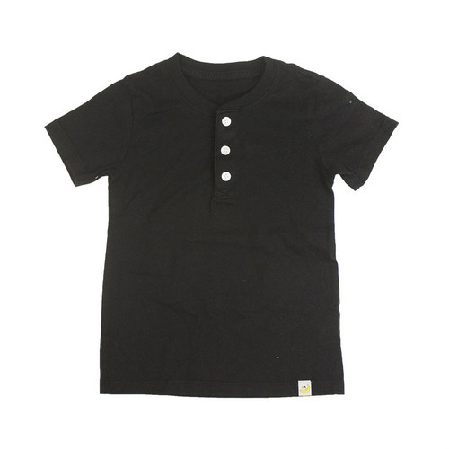 Henley T-Shirt - Black Combed Cotton Garment Dyed