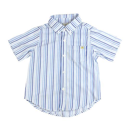 Washed Blue Striped Short Sleeve Shirt