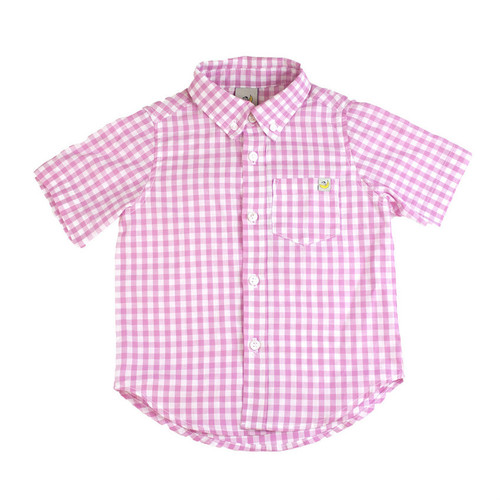 Washed Checkered Short Sleeve Shirt - Pink