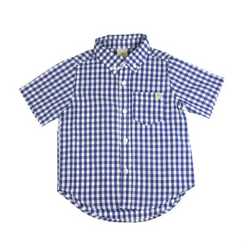 Washed Checkered Short Sleeve Shirt - Royal