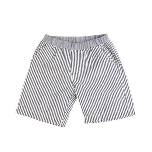 Washed Seersucker Shorts - Navy
