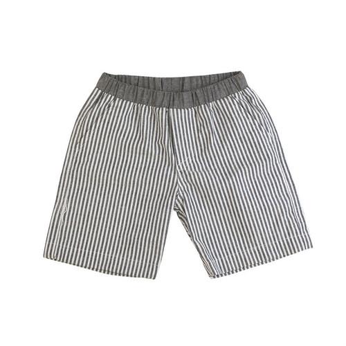 Washed Seersucker Shorts - Black