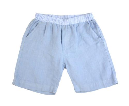 Linen Shorts - Light Blue Garment Dyed