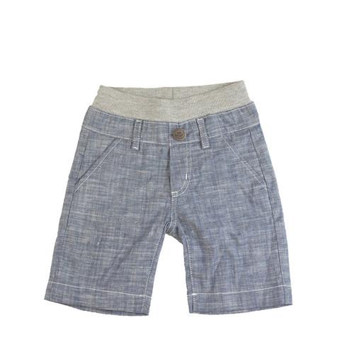 Washed Chambray Shorts - Light Blue