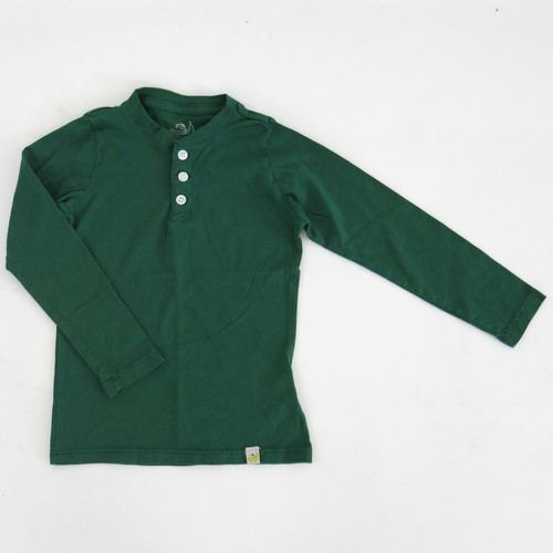 Henley Long Sleeve - Hunter Green Combed Cotton Garment Dyed