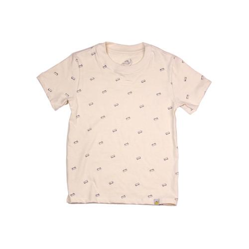 Organic Cotton T-Shirt - Skateboard Print in Eggshell Garment Dyed